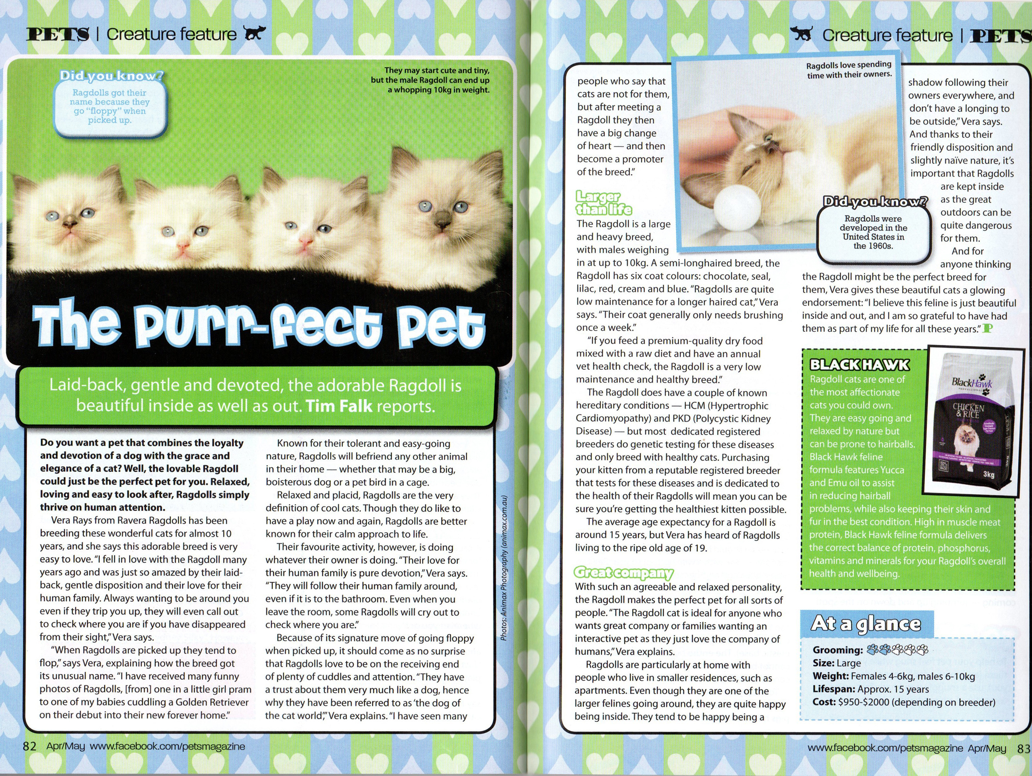 Pet Magazine article interview April/May 2013
